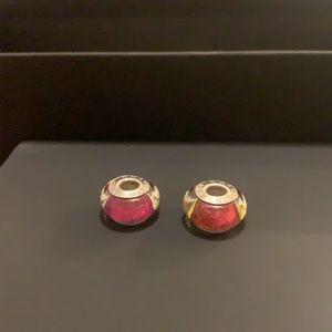 2 Chamilia Charms Murano Glass Beads Pink & orange